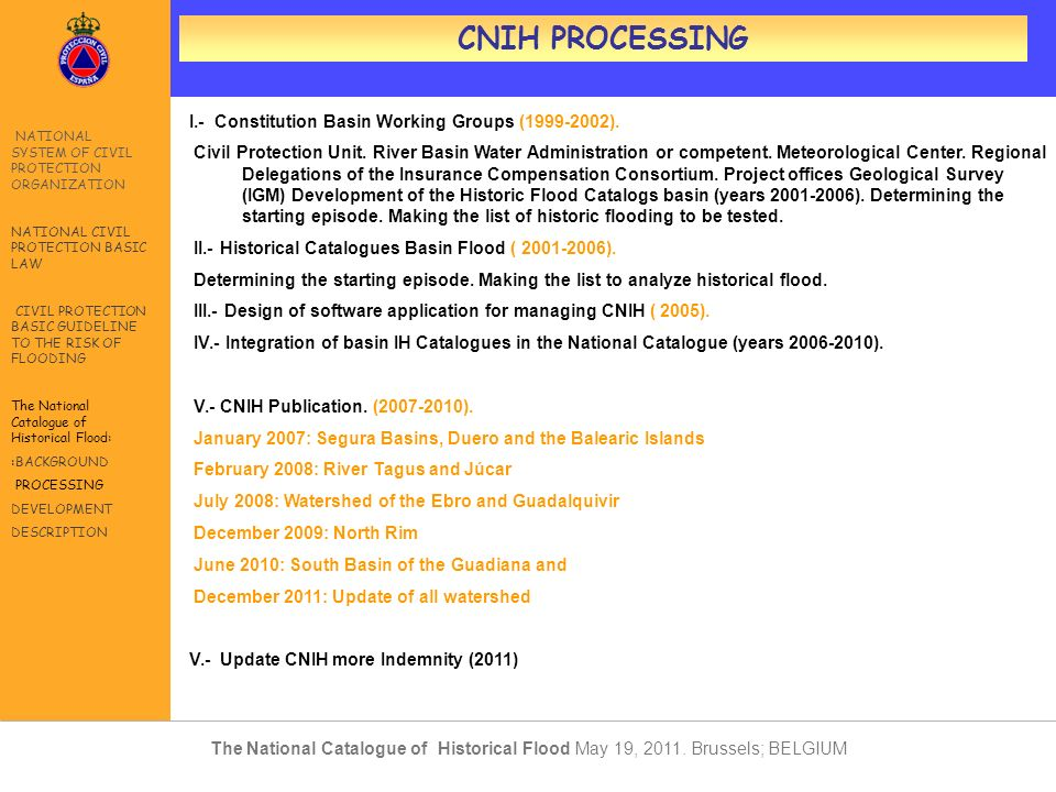 CNIH PROCESSING I.- Constitution Basin Working Groups (1999-2002).
