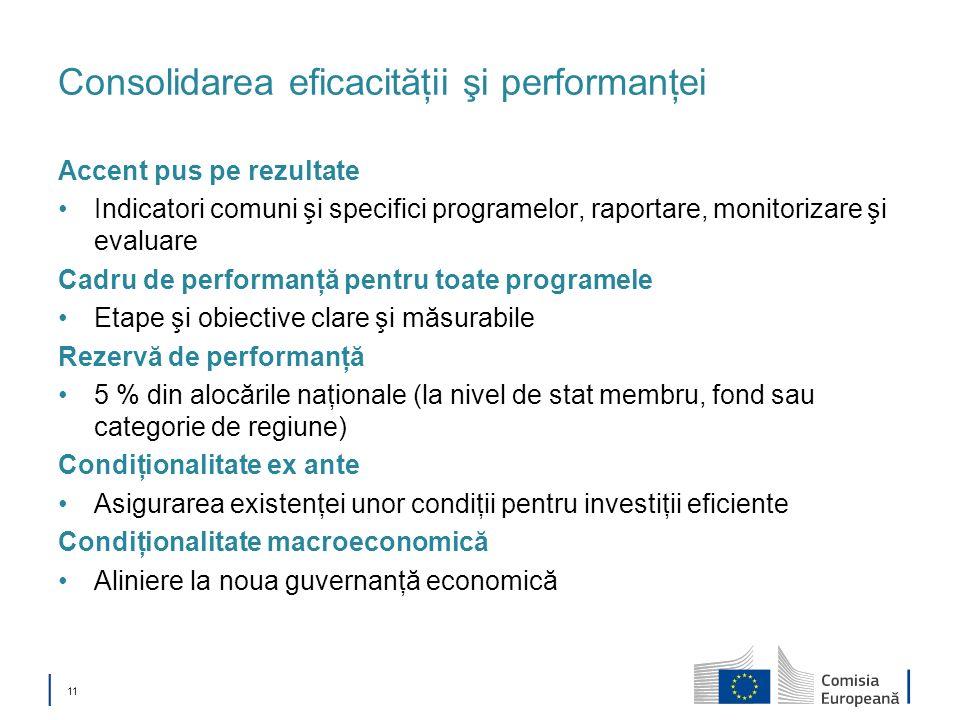 11 Consolidarea eficacităţii şi performanţei Accent pus pe rezultate Indicatori comuni şi specifici programelor, raportare, monitorizare şi evaluare C