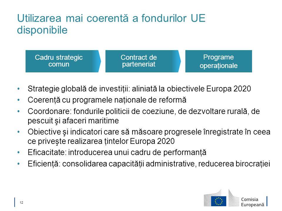 12 Utilizarea mai coerentă a fondurilor UE disponibile Strategie globală de investiţii: aliniată la obiectivele Europa 2020 Coerenţă cu programele naţ