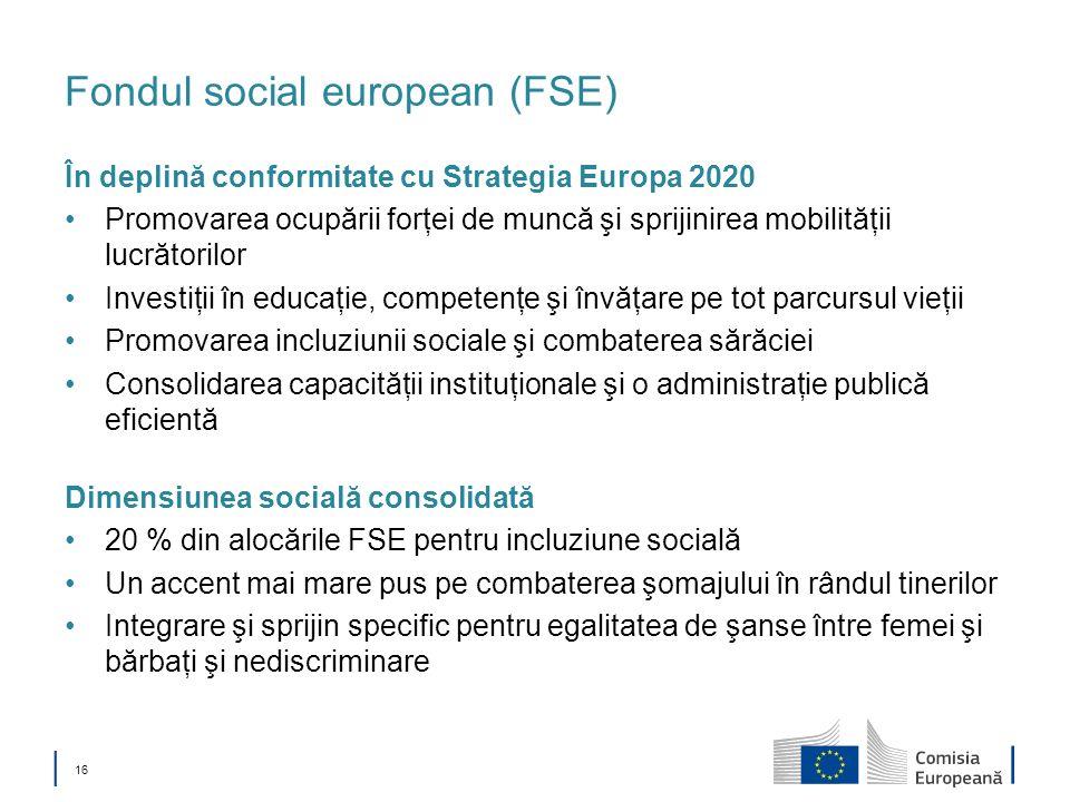 16 Fondul social european (FSE) În deplină conformitate cu Strategia Europa 2020 Promovarea ocupării forţei de muncă şi sprijinirea mobilităţii lucrăt