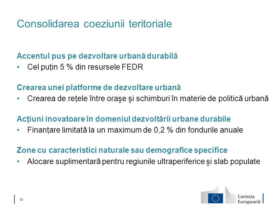 19 Consolidarea coeziunii teritoriale Accentul pus pe dezvoltare urbană durabilă Cel puţin 5 % din resursele FEDR Crearea unei platforme de dezvoltare