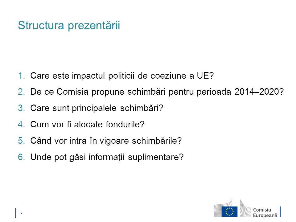 2 Structura prezentării 1.Care este impactul politicii de coeziune a UE? 2.De ce Comisia propune schimbări pentru perioada 2014–2020? 3.Care sunt prin
