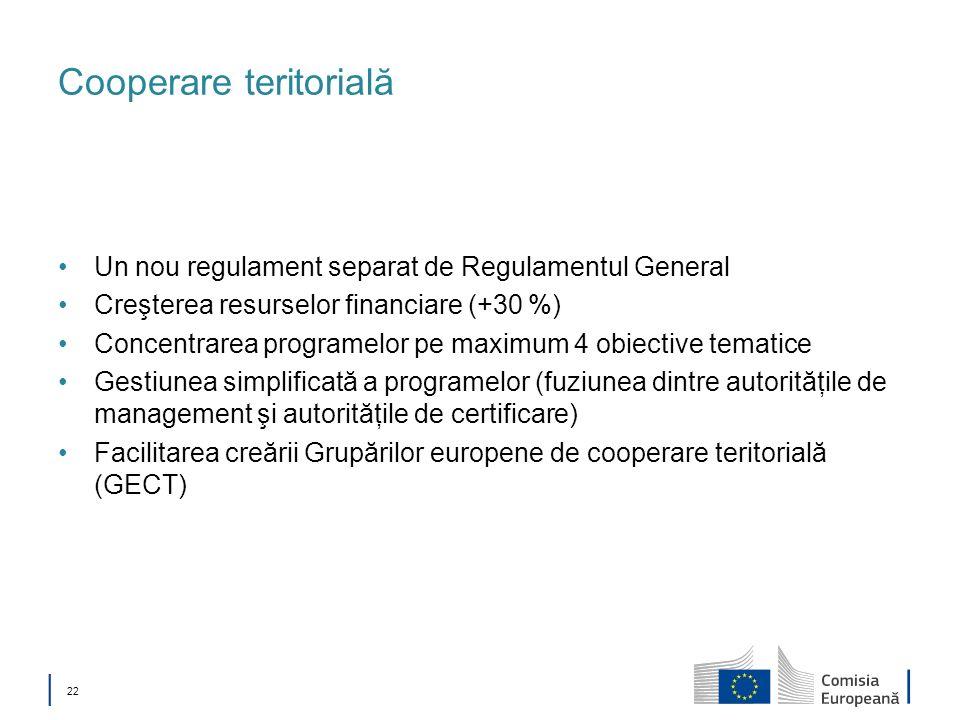 22 Cooperare teritorială Un nou regulament separat de Regulamentul General Creşterea resurselor financiare (+30 %) Concentrarea programelor pe maximum