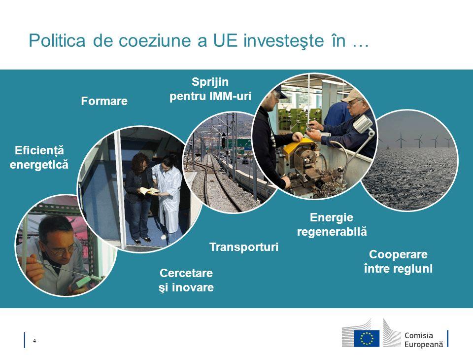 4 Politica de coeziune a UE investeşte în … Transporturi Energie regenerabilă Cercetare şi inovare Formare Cooperare între regiuni Eficienţă energetic