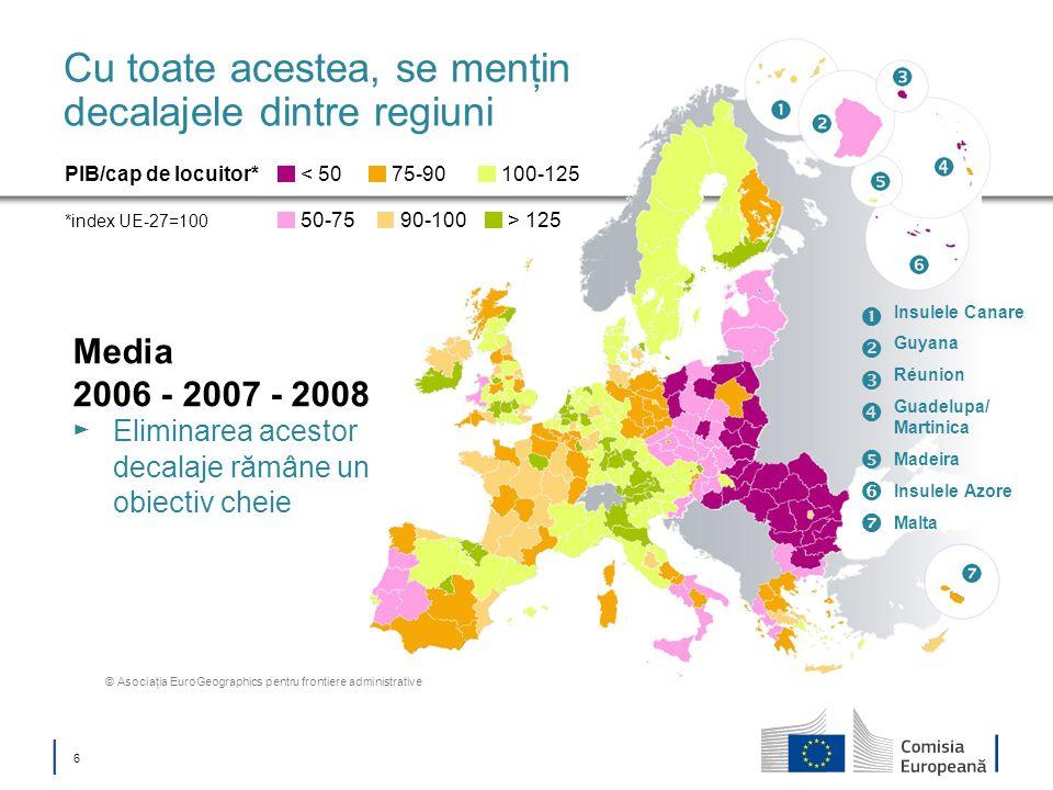 6 Cu toate acestea, se menţin decalajele dintre regiuni Media 2006 - 2007 - 2008 Eliminarea acestor decalaje rămâne un obiectiv cheie PIB/cap de locui