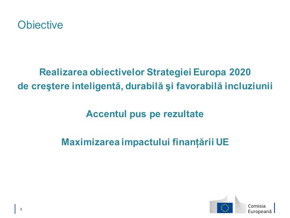 8 Obiective Realizarea obiectivelor Strategiei Europa 2020 de creştere inteligentă, durabilă şi favorabilă incluziunii Accentul pus pe rezultate Maxim