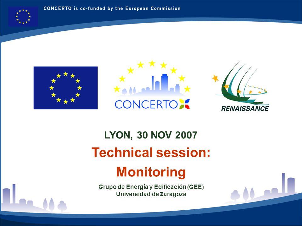 RENAISSANCE es un proyecto del programa CONCERTO co-financiado por la Comisión Europea dentro del Sexto Programa Marco RENAISSANCE - ZARAGOZA - SPAIN 1 LYON, 30 NOV 2007 Technical session: Monitoring Grupo de Energía y Edificación (GEE) Universidad de Zaragoza