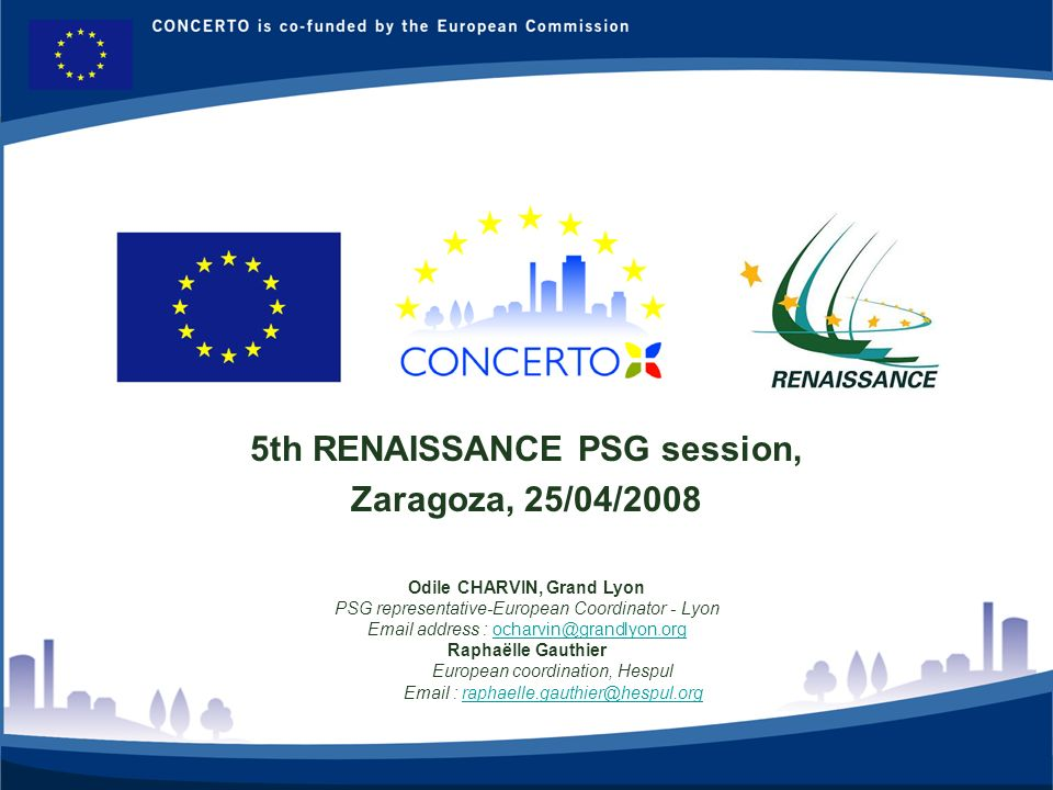 RENAISSANCE es un proyecto del programa CONCERTO co-financiado por la Comisión Europea dentro del Sexto Programa Marco 2 PSGs items- April08 Plan & Introduction Management issues New situation on local coordination : 2 new staff (Zaragoza, Lyon) Ecodess withdrawal for most of WP works, except local coordination .