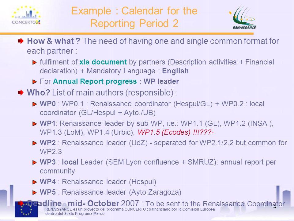 RENAISSANCE es un proyecto del programa CONCERTO co-financiado por la Comisión Europea dentro del Sexto Programa Marco 5 How & what .