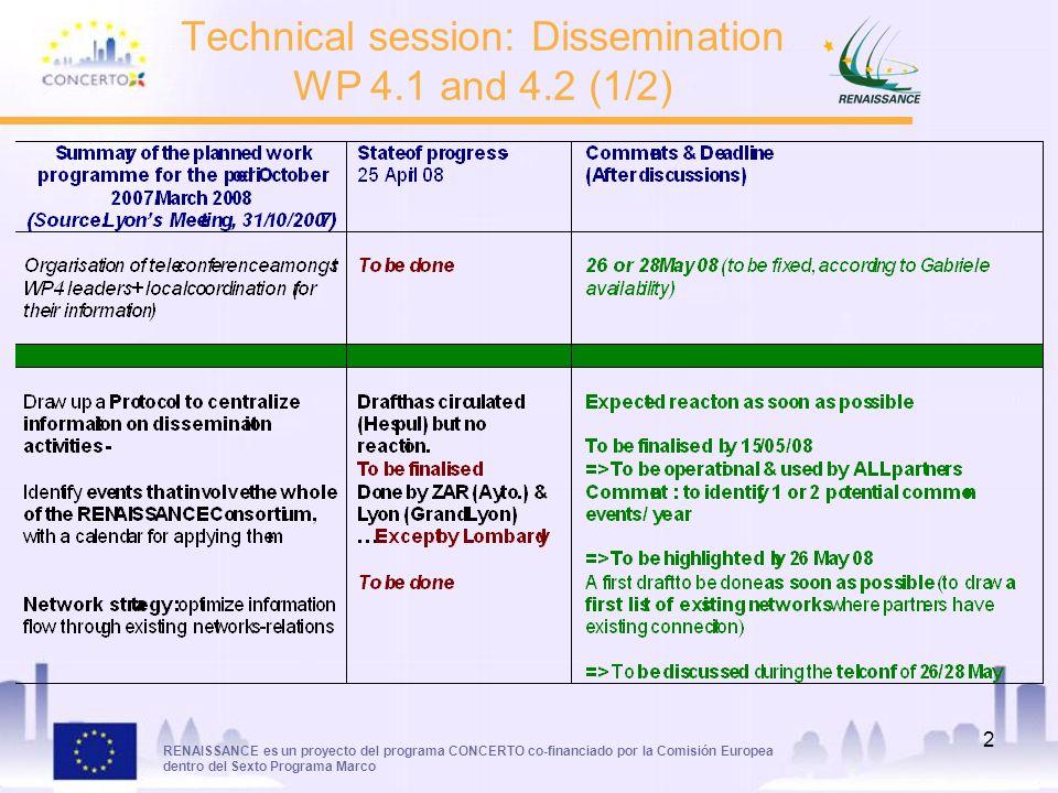 RENAISSANCE es un proyecto del programa CONCERTO co-financiado por la Comisión Europea dentro del Sexto Programa Marco 2 Technical session: Dissemination WP 4.1 and 4.2 (1/2)
