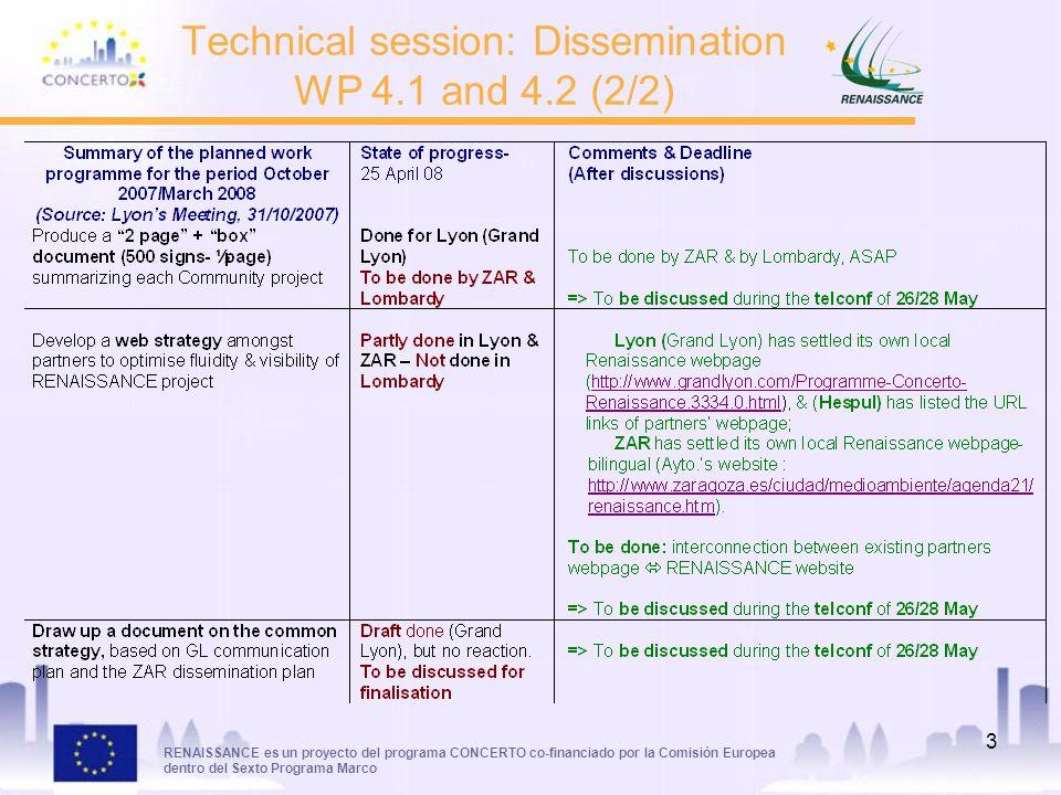 RENAISSANCE es un proyecto del programa CONCERTO co-financiado por la Comisión Europea dentro del Sexto Programa Marco 3 Technical session: Dissemination WP 4.1 and 4.2 (2/2)