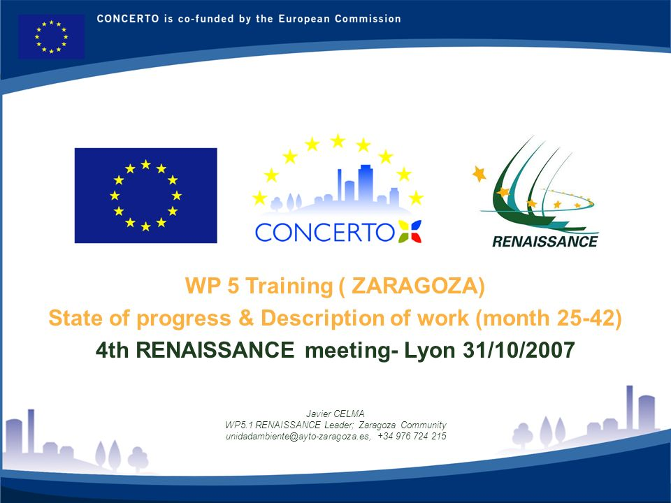 RENAISSANCE es un proyecto del programa CONCERTO co-financiado por la Comisión Europea dentro del Sexto Programa Marco 1 WP 5 Training ( ZARAGOZA) State of progress & Description of work (month 25-42) 4th RENAISSANCE meeting- Lyon 31/10/2007 Javier CELMA WP5.1 RENAISSANCE Leader; Zaragoza Community unidadambiente@ayto-zaragoza.es, +34 976 724 215