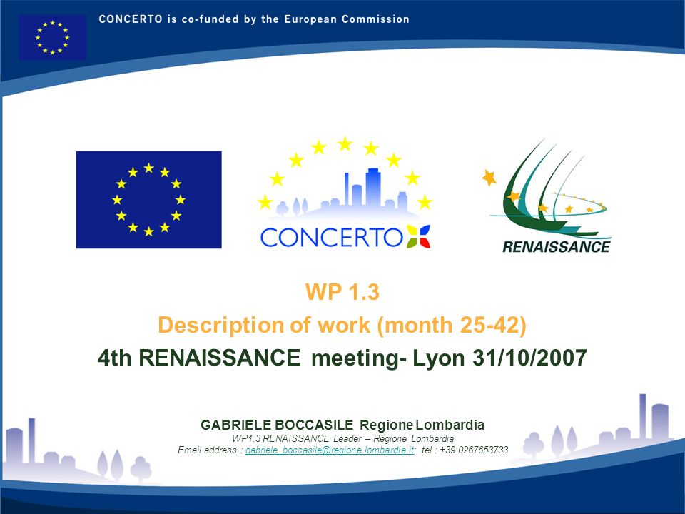 RENAISSANCE es un proyecto del programa CONCERTO co-financiado por la Comisión Europea dentro del Sexto Programa Marco 1 WP 1.3 Description of work (m
