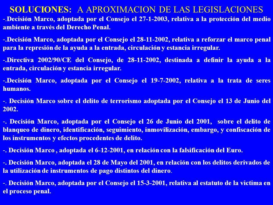 SOLUCIONES: A APROXIMACION DE LAS LEGISLACIONES -.Decisión Marco, adoptada por el Consejo el 27-1-2003, relativa a la protección del medio ambiente a través del Derecho Penal.