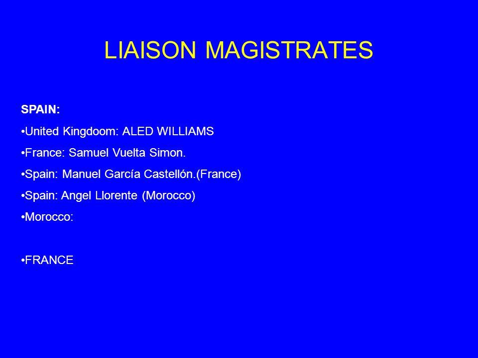 LIAISON MAGISTRATES SPAIN: United Kingdoom: ALED WILLIAMS France: Samuel Vuelta Simon.