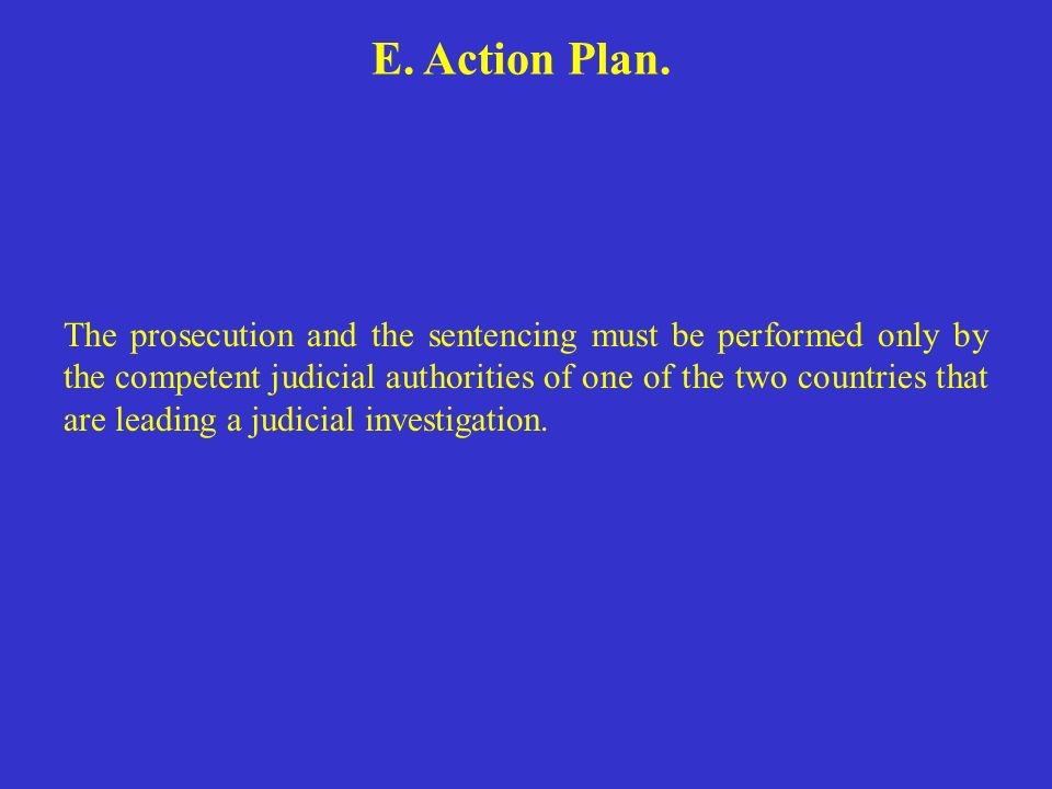 E. Action Plan. The prosecution and the sentencing must be performed only by the competent judicial authorities of one of the two countries that are l