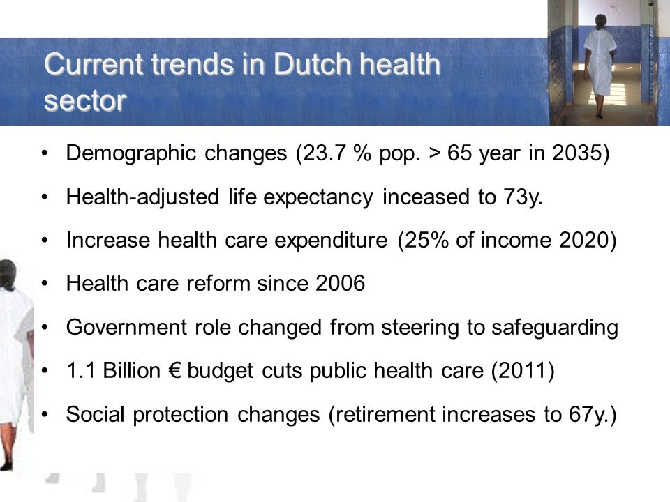 Current trends in Dutch health sector Demographic changes (23.7 % pop.