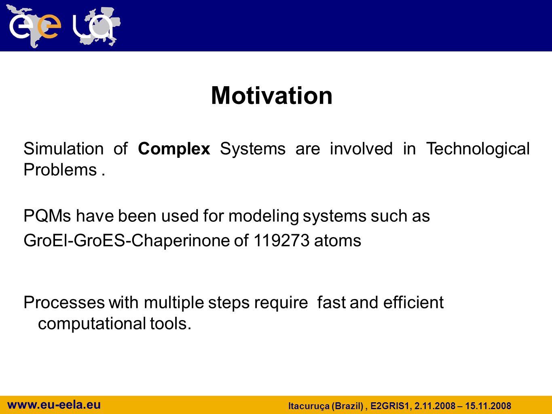 www.eu-eela.eu Itacuruça (Brazil), E2GRIS1, 2.11.2008 – 15.11.2008 Motivation Simulation of Complex Systems are involved in Technological Problems. PQ