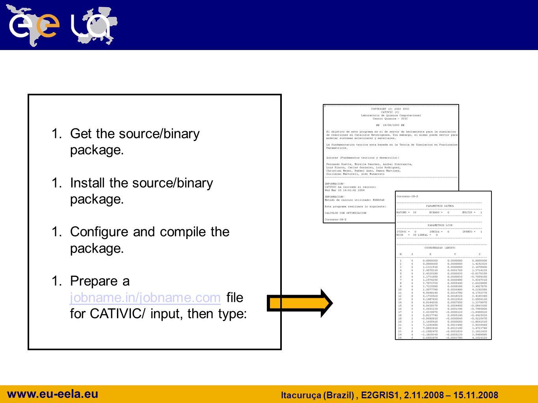 www.eu-eela.eu Itacuruça (Brazil), E2GRIS1, 2.11.2008 – 15.11.2008 CATIVIC/Gaussian in the Past… Getting and Running the Software 1.Get the source/bin