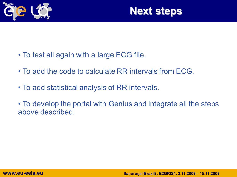www.eu-eela.eu Itacuruça (Brazil), E2GRIS1, 2.11.2008 – 15.11.2008 Next steps To test all again with a large ECG file.