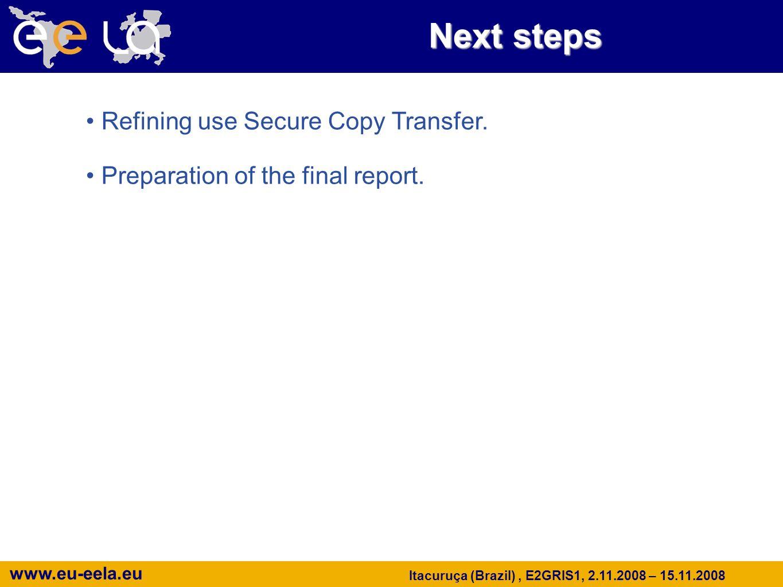 www.eu-eela.eu Itacuruça (Brazil), E2GRIS1, 2.11.2008 – 15.11.2008 Next steps Refining use Secure Copy Transfer.