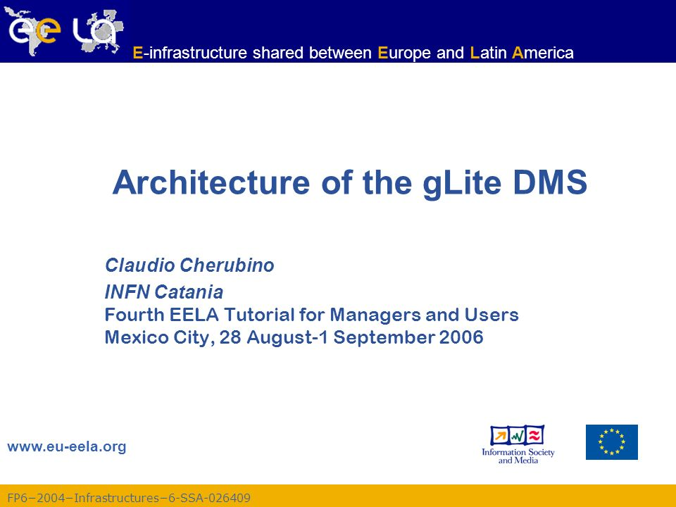 FP62004Infrastructures6-SSA-026409 E-infrastructure shared between Europe and Latin America Fourth EELA Tutorial, Mexico City, 28 August-1 September 2006 22 lfc-ln Creating a symbolic link lfc-ln -s file linkname lfc-ln -s directory linkname Create a link to the specified file or directory with linkname –Examples: > lfc-ln -s /grid/gilda/claudio/demo/test /grid/gilda/claudio/aLink Lets check the link using lfc-ls with long listing (-l): > lfc-ls -l lrwxrwxrwx 1 19122 1077 0 Jun 14 11:58 aLink -> /grid/gilda/claudio/demo/test drwxr-xrwx 1 19122 1077 0 Jun 14 11:39 demo Original File Symbolic link
