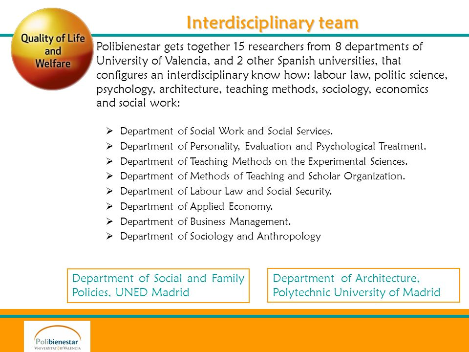 Department of Social and Family Policies, UNED Madrid Department of Architecture, Polytechnic University of Madrid Interdisciplinary team Interdiscipl