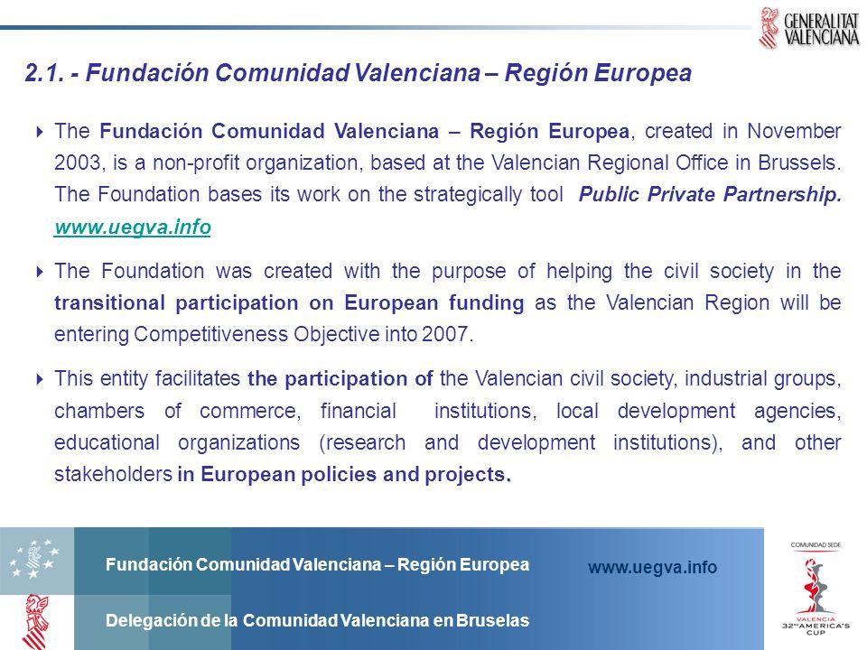 Fundación Comunidad Valenciana – Región Europea Delegación de la Comunidad Valenciana en Bruselas www.uegva.info 2.1. - Fundación Comunidad Valenciana