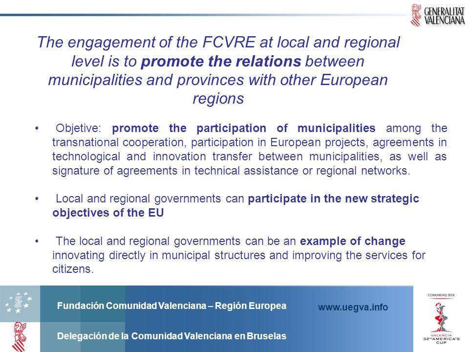 Fundación Comunidad Valenciana – Región Europea Delegación de la Comunidad Valenciana en Bruselas www.uegva.info Objetive: promote the participation o