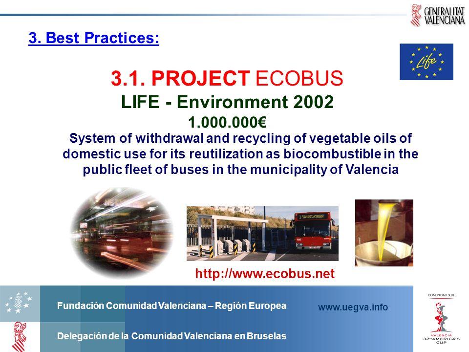 Fundación Comunidad Valenciana – Región Europea Delegación de la Comunidad Valenciana en Bruselas www.uegva.info http://www.ecobus.net 3. Best Practic
