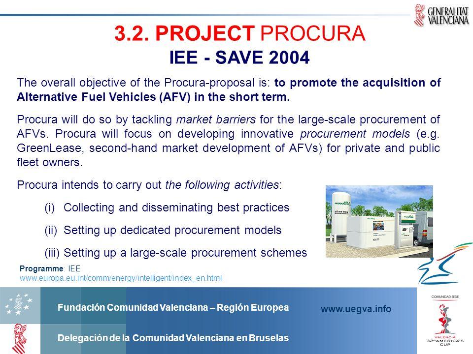 Fundación Comunidad Valenciana – Región Europea Delegación de la Comunidad Valenciana en Bruselas www.uegva.info 3.2. PROJECT PROCURA IEE - SAVE 2004
