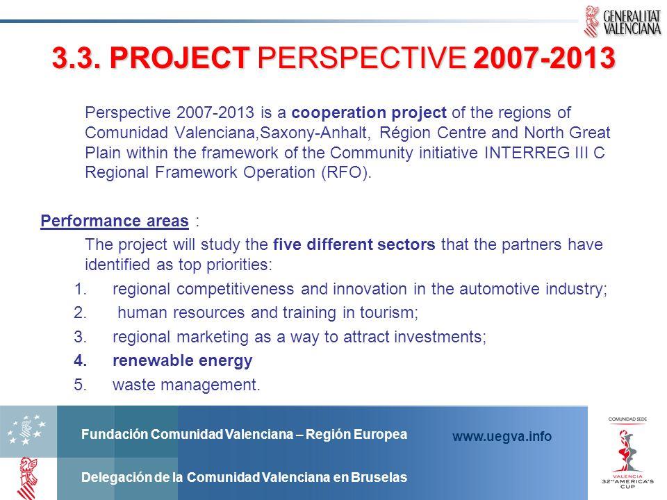 Fundación Comunidad Valenciana – Región Europea Delegación de la Comunidad Valenciana en Bruselas www.uegva.info 3.3. PROJECT PERSPECTIVE 2007-2013 3.