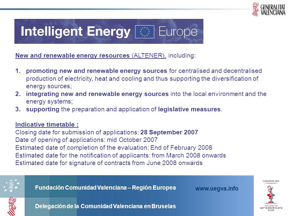 Fundación Comunidad Valenciana – Región Europea Delegación de la Comunidad Valenciana en Bruselas www.uegva.info New and renewable energy resources (A