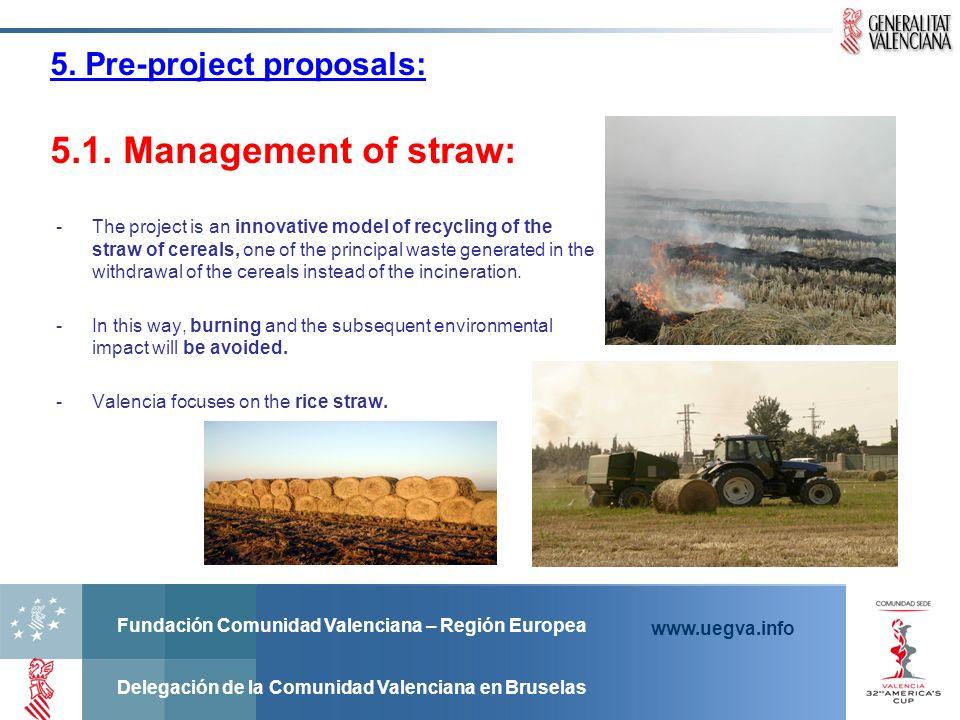 Fundación Comunidad Valenciana – Región Europea Delegación de la Comunidad Valenciana en Bruselas www.uegva.info 5. Pre-project proposals: 5.1. Manage
