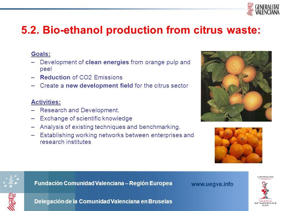 Fundación Comunidad Valenciana – Región Europea Delegación de la Comunidad Valenciana en Bruselas www.uegva.info 5.2. Bio-ethanol production from citr
