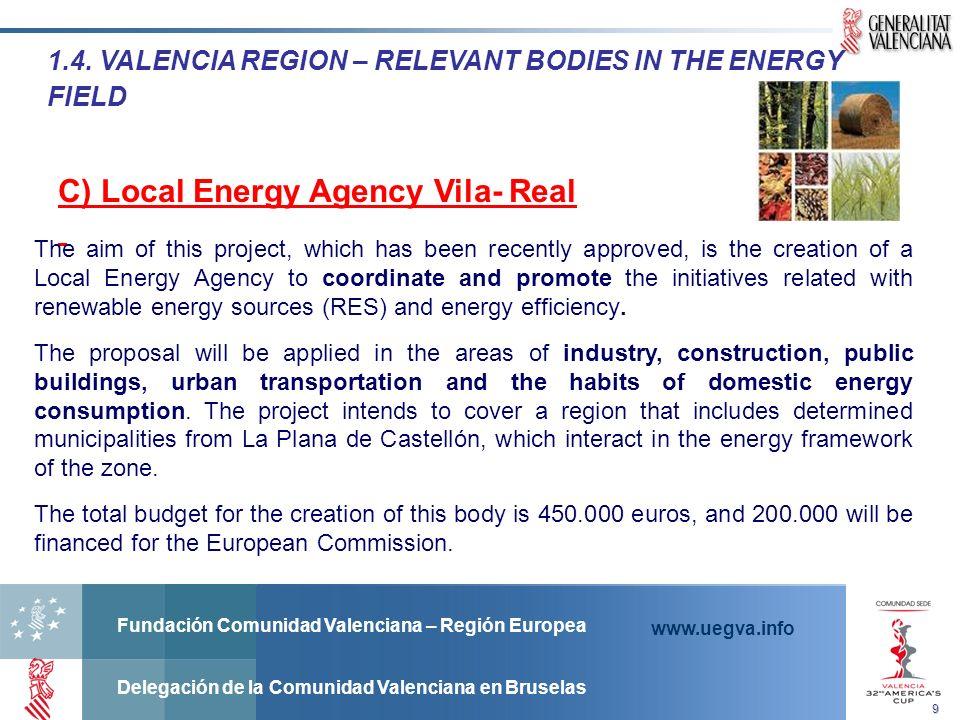 Fundación Comunidad Valenciana – Región Europea Delegación de la Comunidad Valenciana en Bruselas www.uegva.info 1.4. VALENCIA REGION – RELEVANT BODIE