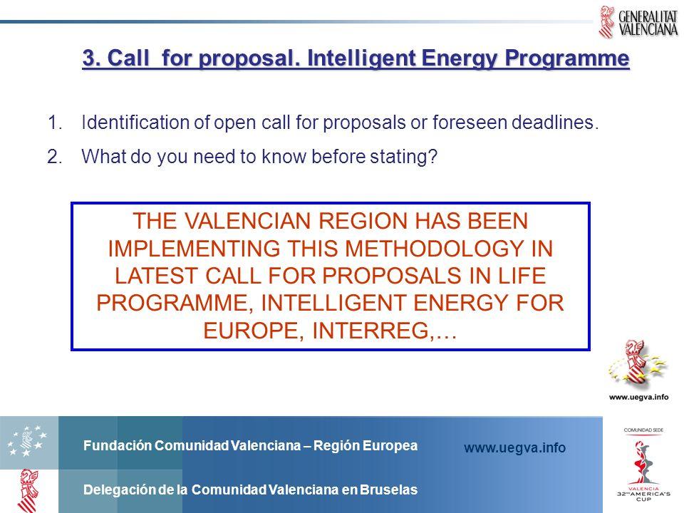 Fundación Comunidad Valenciana – Región Europea Delegación de la Comunidad Valenciana en Bruselas www.uegva.info 1.Identification of open call for pro
