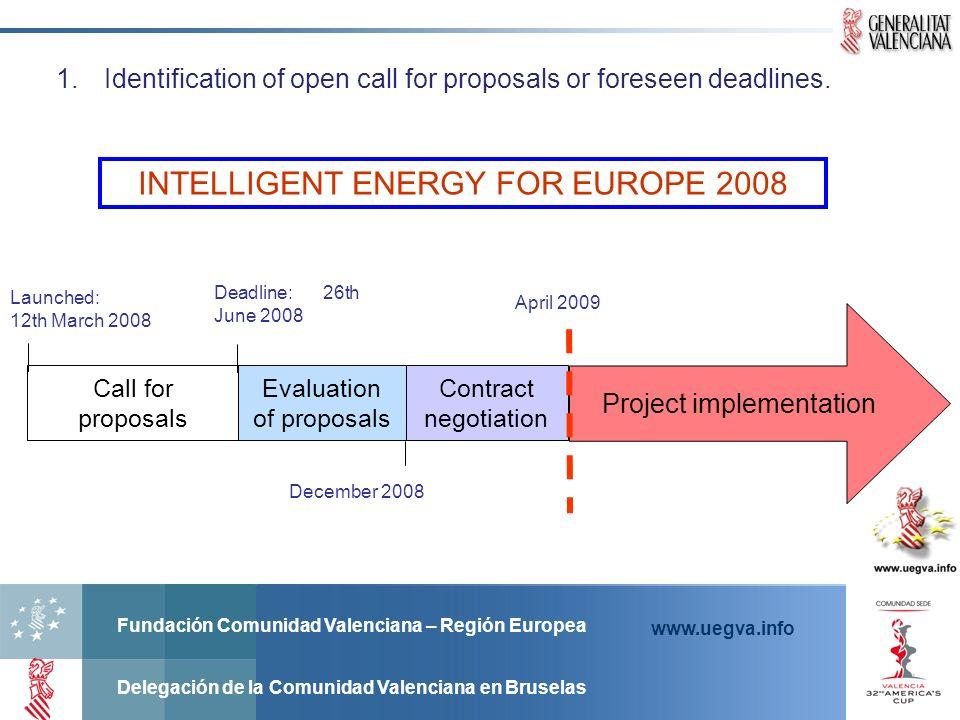 Fundación Comunidad Valenciana – Región Europea Delegación de la Comunidad Valenciana en Bruselas www.uegva.info 1.Identification of open call for proposals or foreseen deadlines.