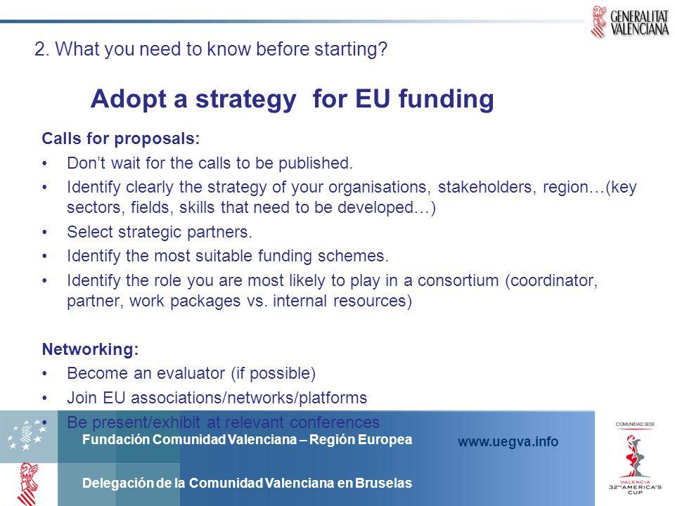 Fundación Comunidad Valenciana – Región Europea Delegación de la Comunidad Valenciana en Bruselas www.uegva.info 2. What you need to know before start