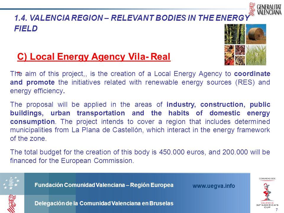 Fundación Comunidad Valenciana – Región Europea Delegación de la Comunidad Valenciana en Bruselas www.uegva.info 1.4.