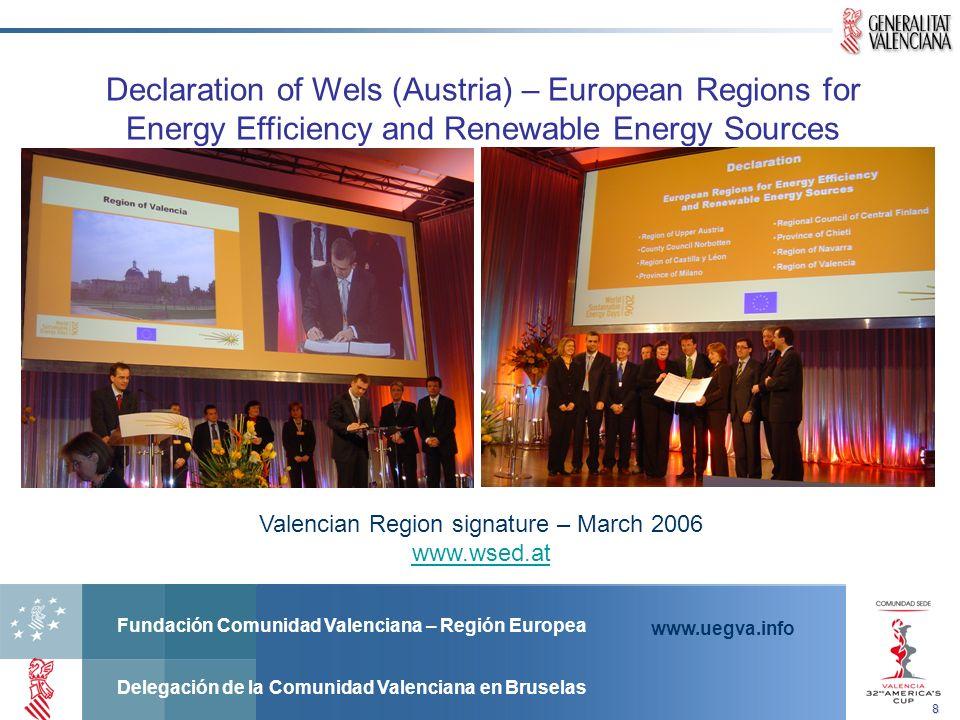 Fundación Comunidad Valenciana – Región Europea Delegación de la Comunidad Valenciana en Bruselas www.uegva.info Declaration of Wels (Austria) – European Regions for Energy Efficiency and Renewable Energy Sources Valencian Region signature – March 2006 www.wsed.at8