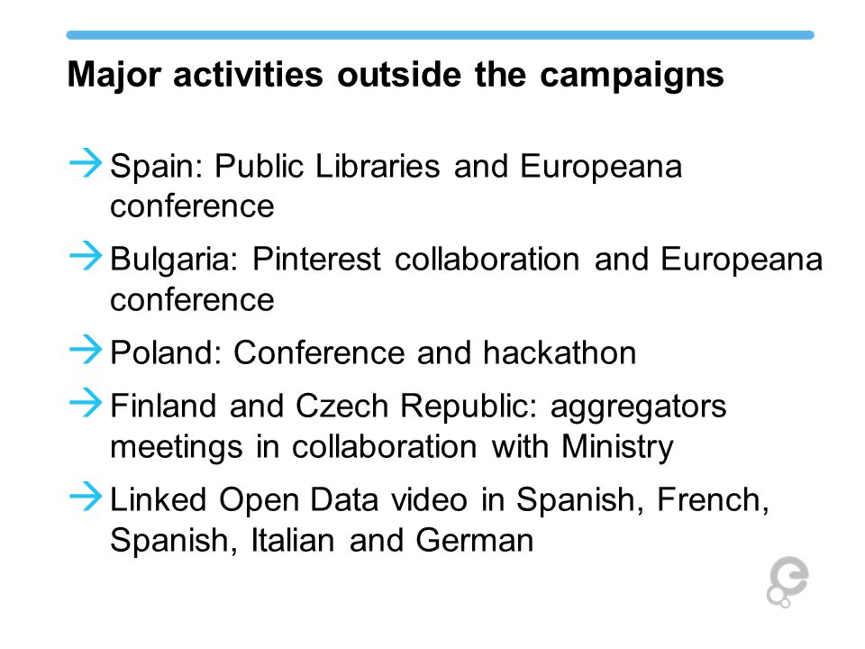 Major activities outside the campaigns Spain: Public Libraries and Europeana conference Bulgaria: Pinterest collaboration and Europeana conference Pol
