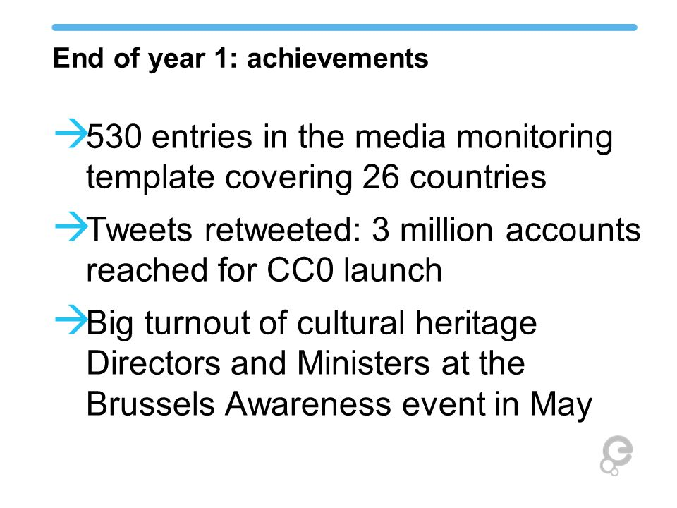 End of year 1: achievements 530 entries in the media monitoring template covering 26 countries Tweets retweeted: 3 million accounts reached for CC0 la