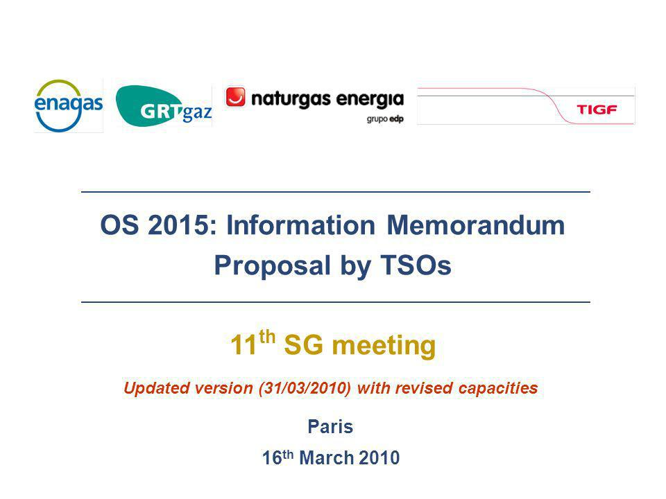 OS 2015: Information Memorandum Proposal by TSOs 11 th SG meeting Paris 16 th March 2010 Updated version (31/03/2010) with revised capacities