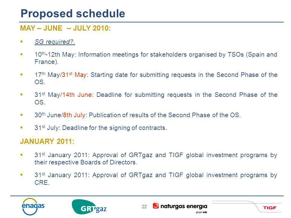 22 Proposed schedule MAY – JUNE – JULY 2010: SG required?. 10 th -12th May: Information meetings for stakeholders organised by TSOs (Spain and France)