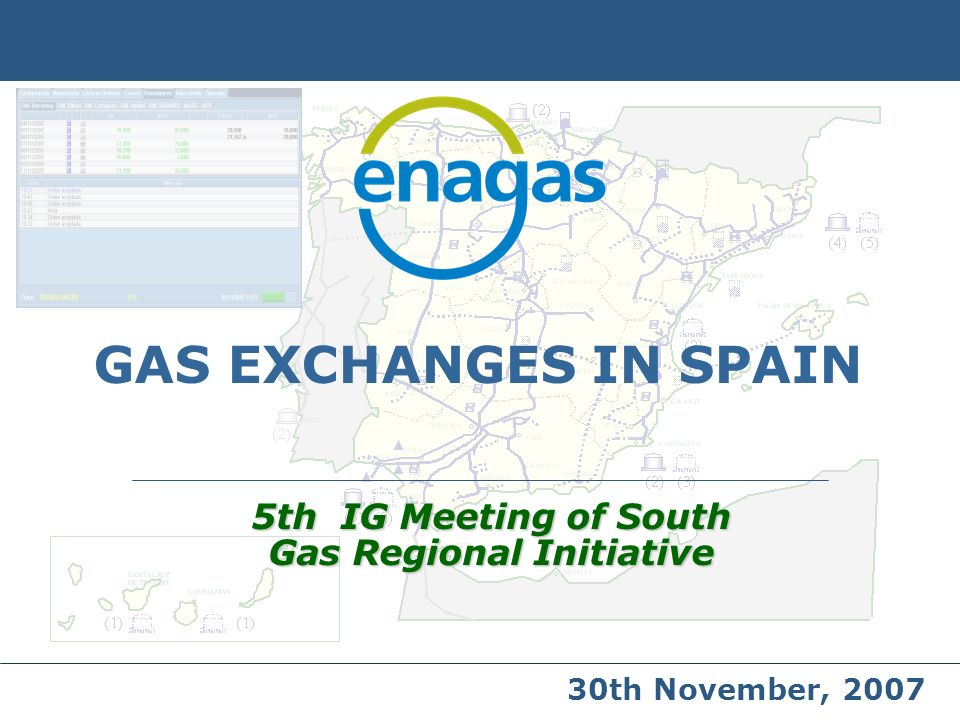 GAS EXCHANGES IN SPAIN 5th IG Meeting of South Gas Regional Initiative 30th November, 2007