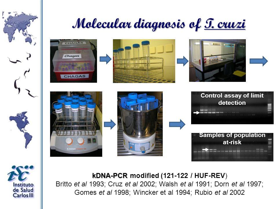 Molecular diagnosis of T. cruzi kDNA-PCR kDNA-PCR modified (121-122 / HUF-REV) Britto et al 1993; Cruz et al 2002; Walsh et al 1991; Dorn et al 1997;