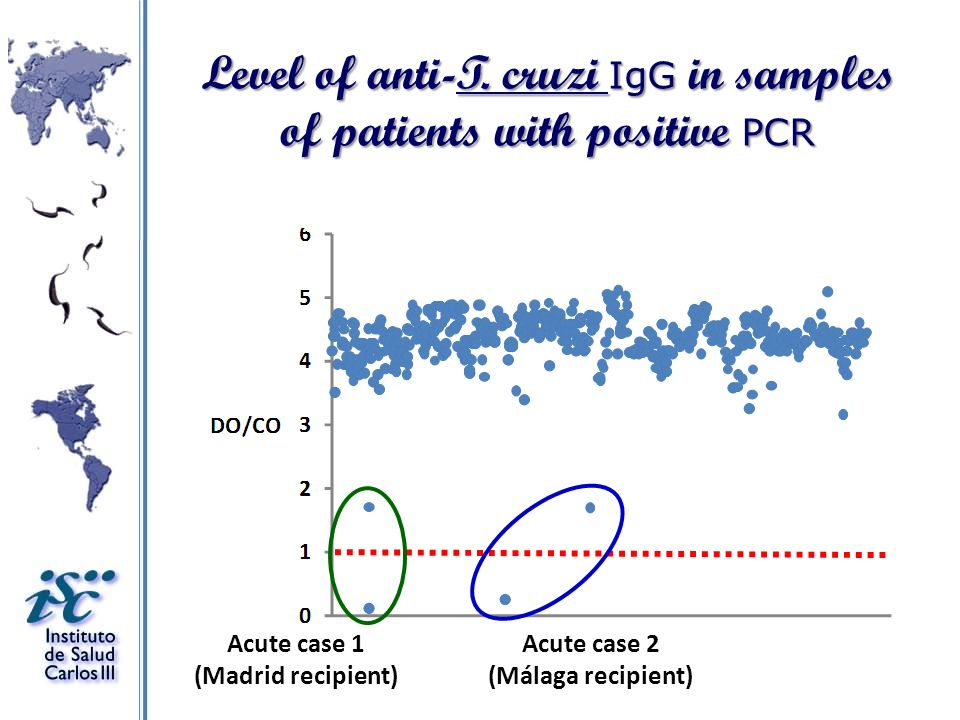 Level of anti-T. cruzi IgG in samples of patients with positive PCR Acute case 1 (Madrid recipient) Acute case 2 (Málaga recipient)