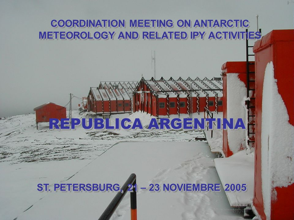 CONDICIONES METEOROLOGICAS EN BASE MARAMBIO 14 de noviembre de 2002, 12.00 HOA ESTADO DEL TIEMPO Parcial nublado VISIBILIDAD10 km TEMPERATURA-7.0 ºC SENSACION TERMICA-15.3 ºC HUMEDAD93 % VIENTOEste 14 km/h PRESION NIVEL LOCALIDAD 972,2 hPa ESTACIONHORA (HOA)ESTADO DEL TIEMPOVISIBILIDAD TEMP [ºC] SENSACION TERMICA [ºC] HUME DAD [%] VIENTO [km/h] PRESION [hPa] Base Esperanza 12:00Cubierto10 km-3.7-6.878 Sudeste 9 995,2 Base Jubany12:00 Cubierto con precipitación a la vista 3.0 km-2.2-3.393 Sudoeste 7 995,8 Base Marambio12:00Parcial nublado10 km-7.0-15.393Este 14972,2 Base Orcadas12:00Parcialmente nublado25 km1.8-2.384Este 11985,8 Base San Martín 12:00Parcialmente nublado20 km1.5-7.081Sur 18993,3 ( www.meteofa.mil.ar)