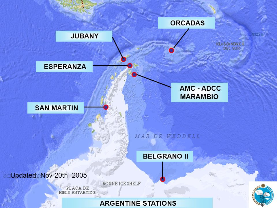 OBSERVATIONAL DATA OBSERVING SYSTEM ANTARCTICBASICSYNOPTIC / CLIMATOLOGICAL NETWORK X GUAN XBELGRANO II 89034 XSAN MARTIN 89066 XXXMARAMBIO 89055 XJUBANY 89053 XXORCADAS 88968 XXESPERANZA 88963 C TEMPCLIMATGSNSTATION Updated, Nov 20th 2005 1953 1904 1979 1985 1969 1951